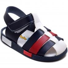Şirin Bebe 260 Erkek Çocuk Bebe Sandalet - Lacivert/Beyaz - Bebe