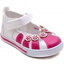 Şirin Bebe 322 Kız Çocuk Bebe Sandalet - Beyaz/Pembe - Bebe