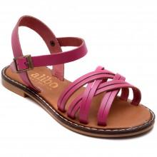 Alibo 11 Çapraz Kız Filet Sandalet - Pembe (Deri) - Filet