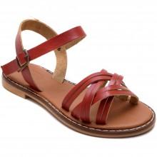 Alibo 11 Çapraz Kız Filet Sandalet - Kırmızı (Deri) - Filet