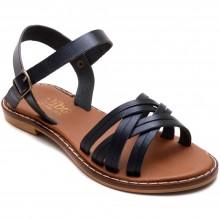 Alibo 11 Çapraz Kız Filet Sandalet - Siyah (Deri) - Filet