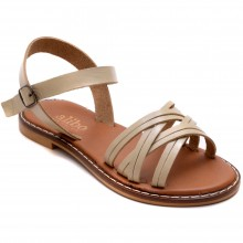Alibo 11 Çapraz Kız Filet Sandalet - Krem (Deri) - Filet