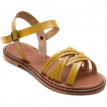 Alibo 11 Çapraz Kız Filet Sandalet - Sarı (Deri) - Filet