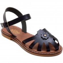 Alibo 7 Çiçekli Kız Filet Sandalet - Siyah (Deri) - Filet