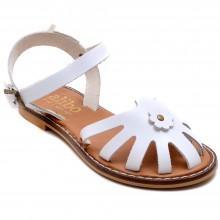 Alibo 7 Çiçekli Kız Filet Sandalet - Beyaz (Deri) - Filet