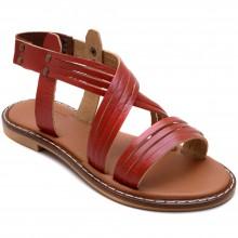 Alibo 9 Düz Kız Filet Sandalet - Kırmızı (Deri) - Filet