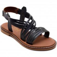 Alibo 9 Düz Kız Filet Sandalet - Siyah (Deri) - Filet