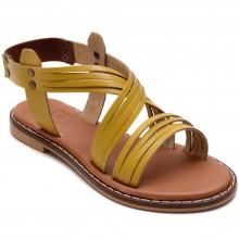 Alibo 9 Düz Kız Filet Sandalet - Sarı (Deri) - Filet