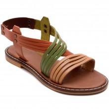 Alibo 9 Düz Kız Filet Sandalet - Renkli (Deri) - Filet