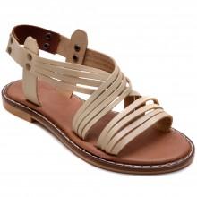 Alibo 9 Düz Kız Filet Sandalet - Krem (Deri) - Filet