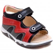 Brono 23 Cırtlı Bebe Sandalet - Füme (Deri) - Bebe