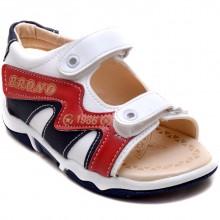 Brono 23 Cırtlı Bebe Sandalet - Beyaz (Deri) - Bebe